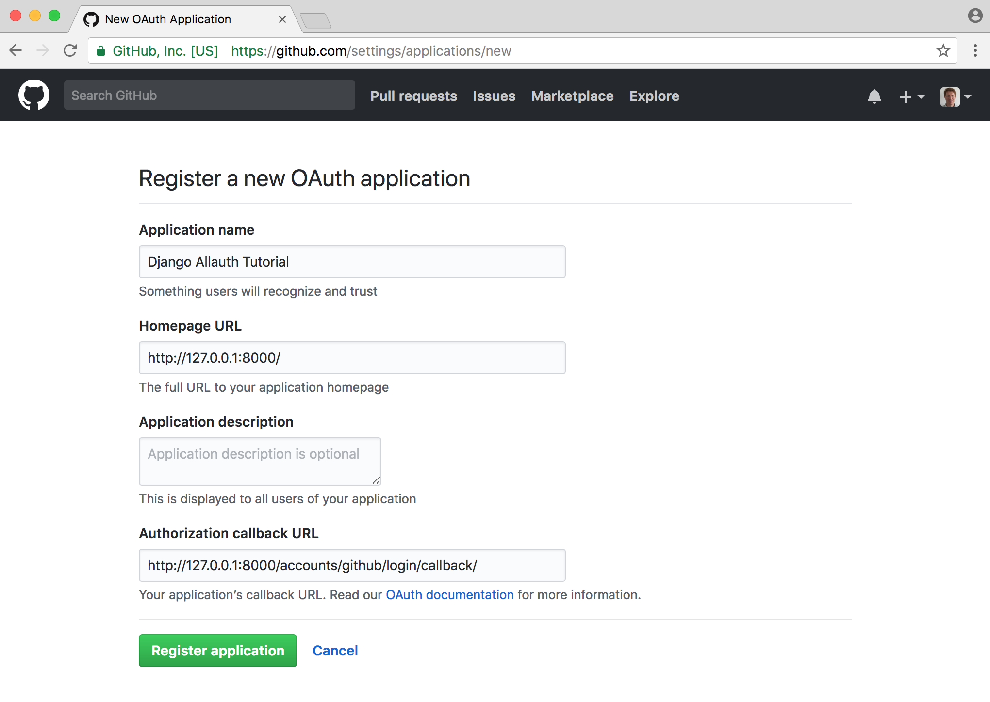 Github OAuth page filled in