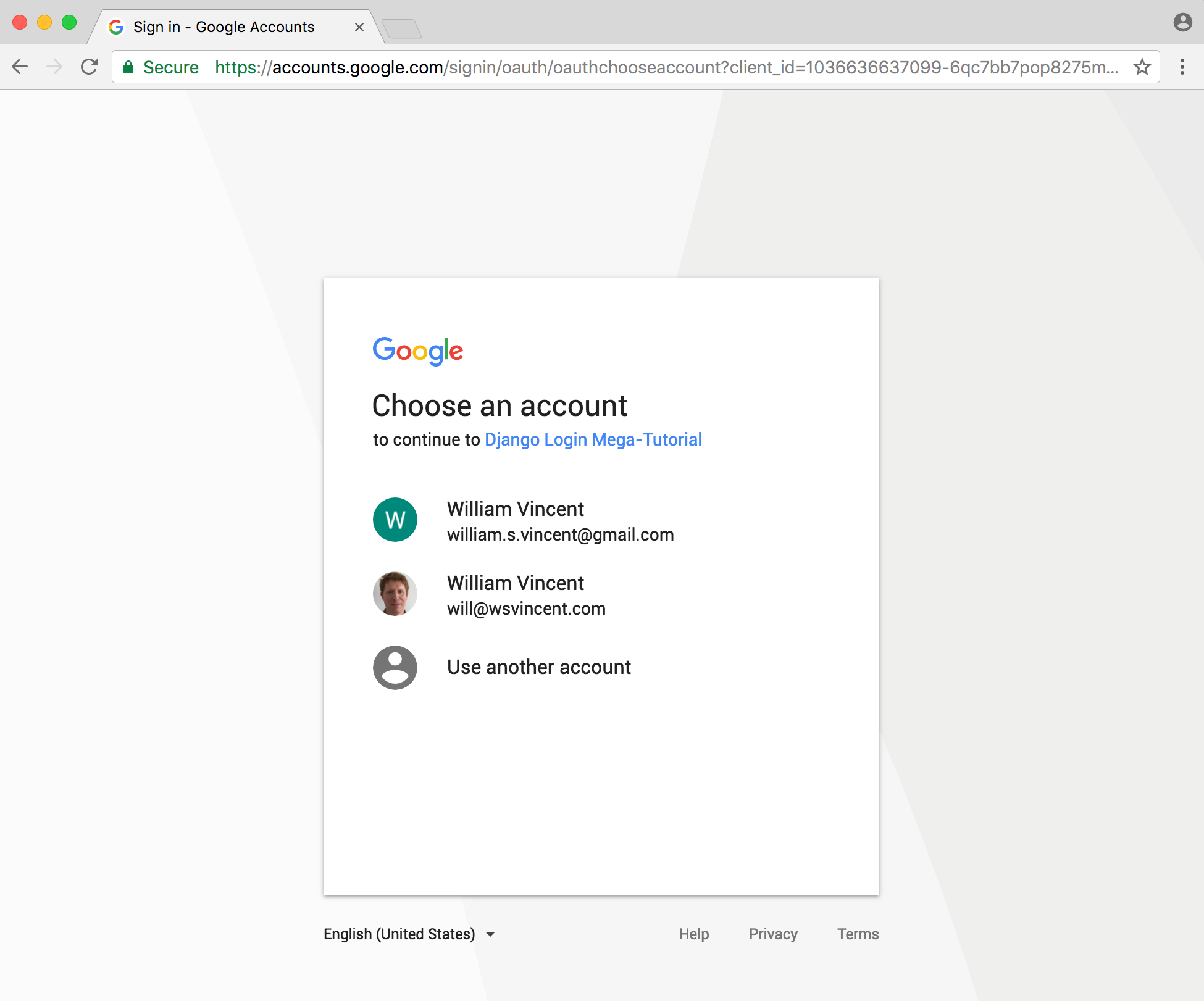Google signup page