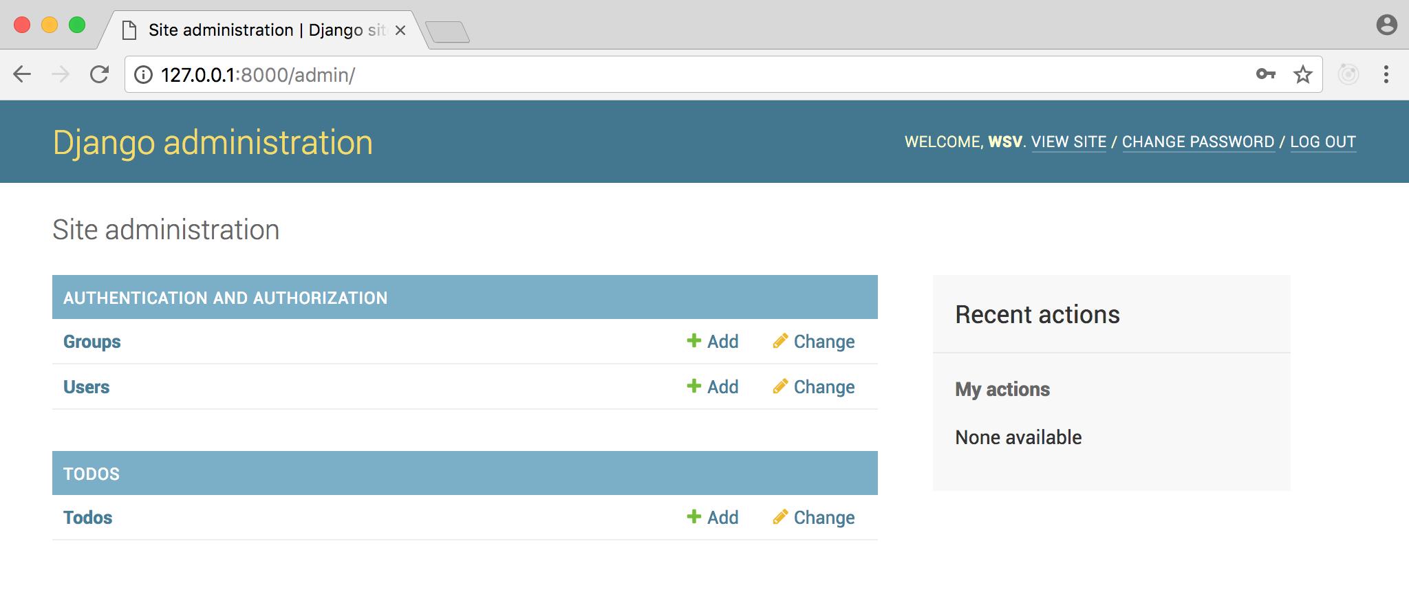 Django admin homepage