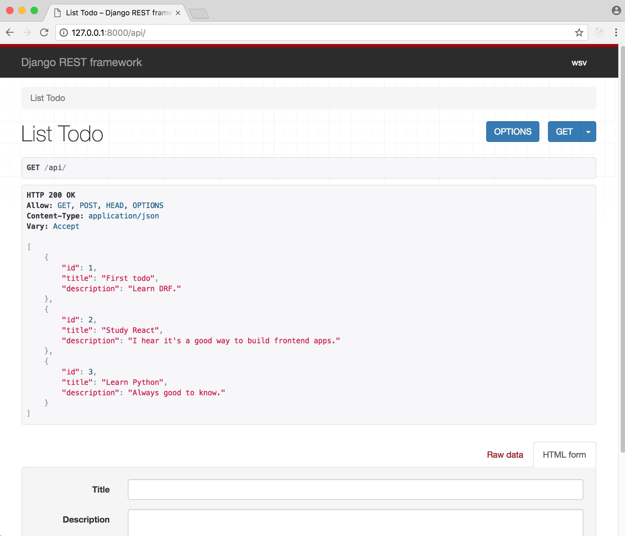 DRF API page