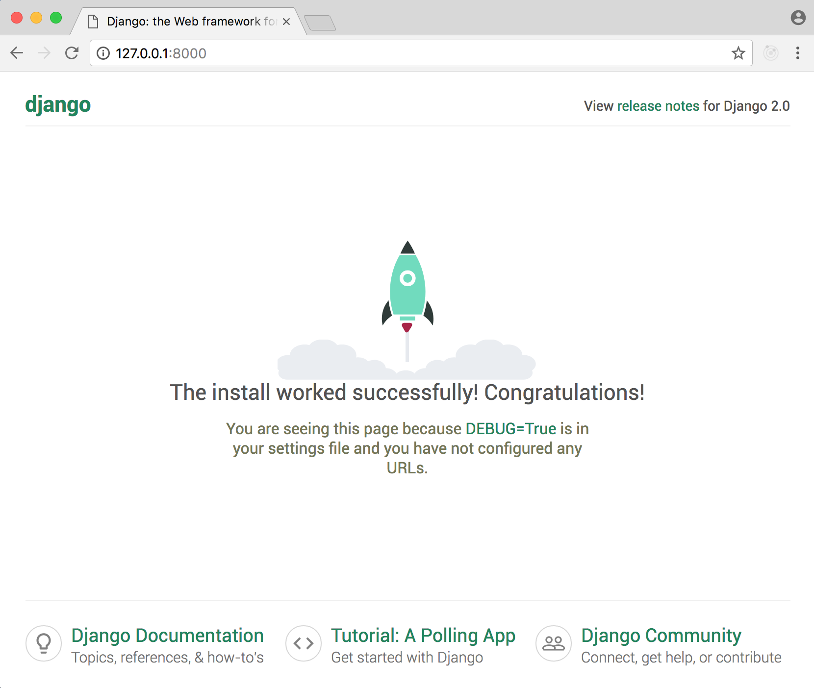Django welcome page