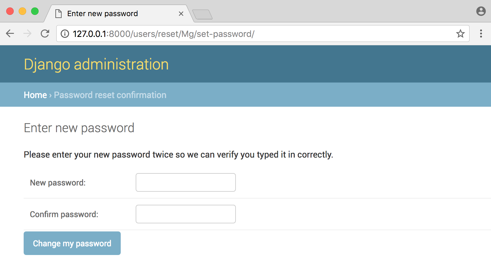 Django password confirm page