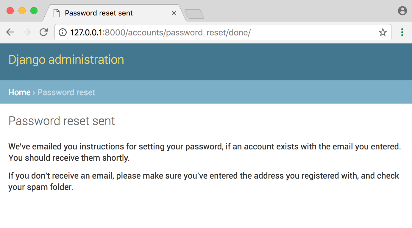 Django password reset done