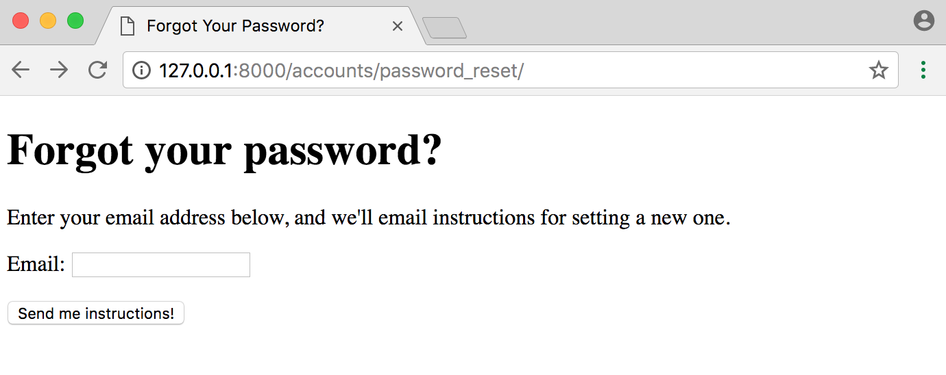 Django password reset page new