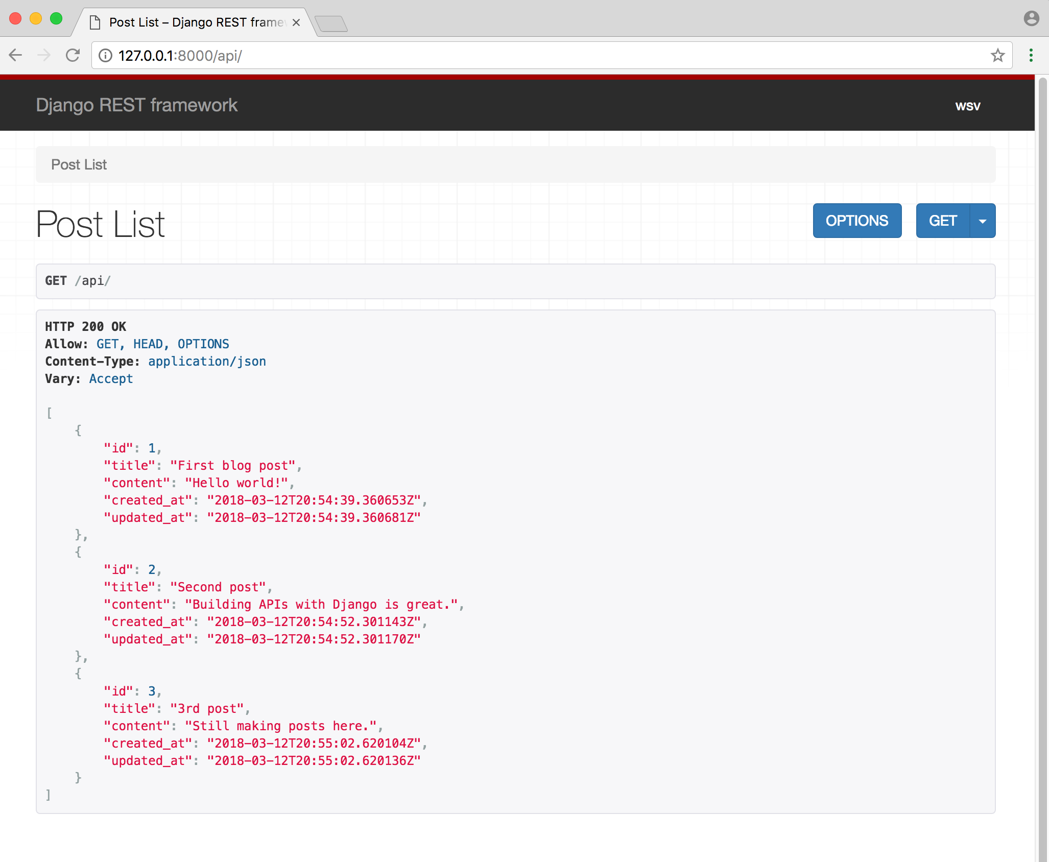 Post list API view
