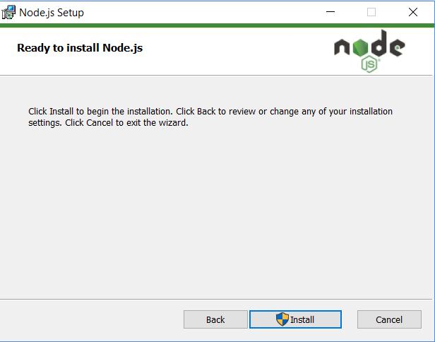 Node Website Installer .msi file